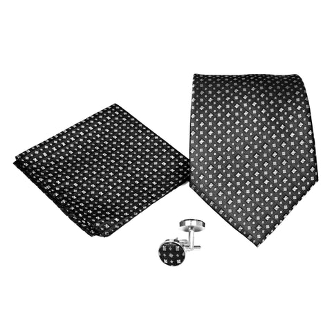 Men's Black Geometric Stripe Pattern Design 4-pc Necktie Box Set