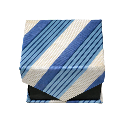 Men's Blue-White Stripe Pattern Design 4-pc Necktie Box Set