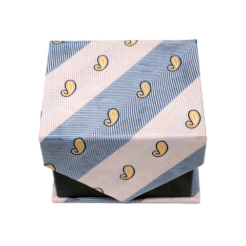 Men's Blue-Tan Paisley Stripe Pattern Design 4-pc Necktie Box Set