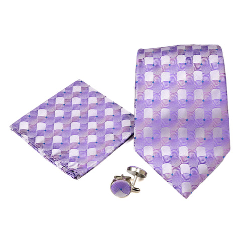 Men's Purple Square Geometric Pattern Design 4-pc Necktie Box Set