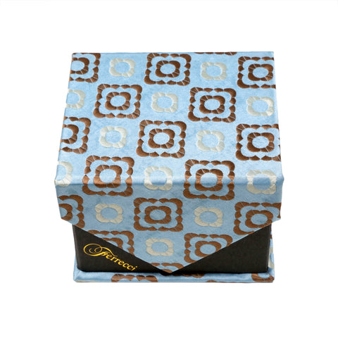 Men's Light Blue-Brown Geometric Pattern Design 4-pc Necktie Box Set