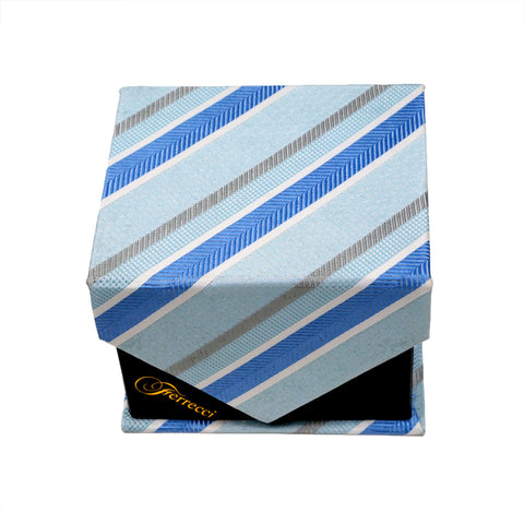 Men's Blue-Light Blue Striped Pattern Design 4-pc Necktie Box Set
