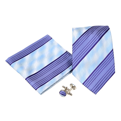 Men's Purple-Blue Striped Geometric Pattern Design 4-pc Necktie Box Set