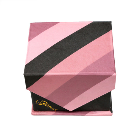 Men's Pink Striped Geometric Pattern Design 4-pc Necktie Box Set