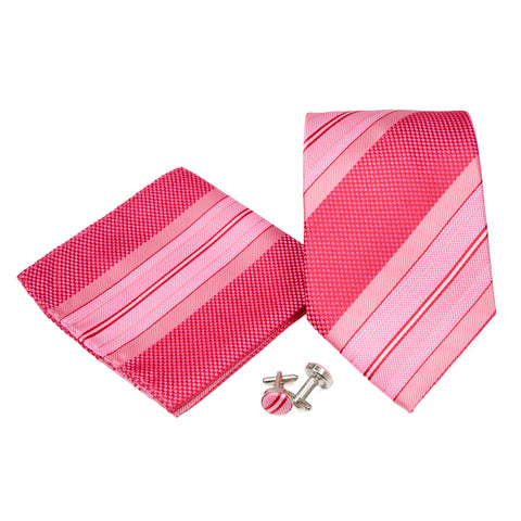 Men's Pink Slanted Striped Pattern Design 4-pc Necktie Box Set