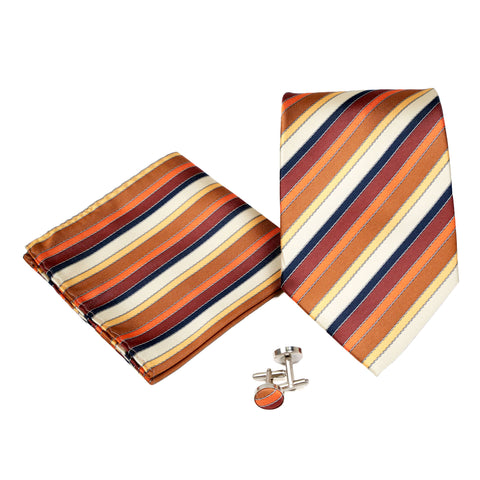 Men's Orange-Brown Striped Geometric Pattern Design 4-pc Necktie Box Set
