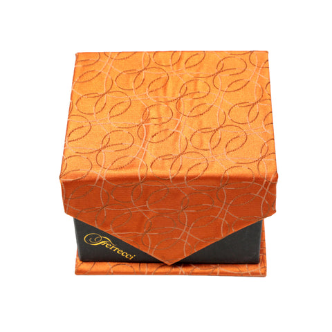 Men's Orange-Orange Geometric Pattern Design 4-pc Necktie Box Set
