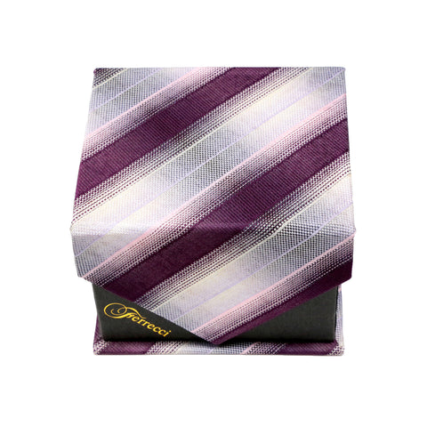Men's Burgundy-White Striped Pattern Design 4-pc Necktie Box Set