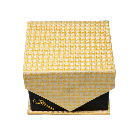 Men's Yellow Striped Grid Pattern Design 4-pc Necktie Box Set