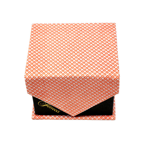Men's Orange Squared Geometric Pattern Design 4-pc Necktie Box Set