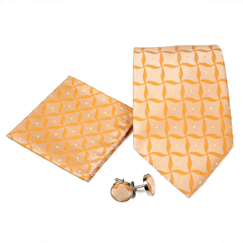 Men's Orange Geometric Pattern Design 4-pc Necktie Box Set