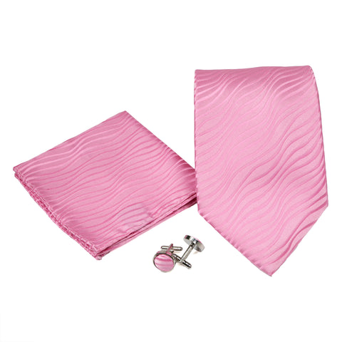 Men's Pink on Pink Wavy Pattern Design 4-pc Necktie Box Set