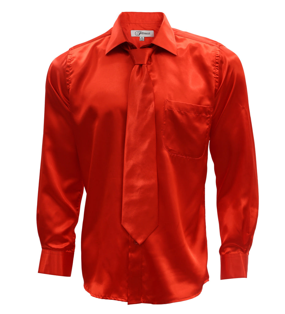 Burnt Red Satin Regular Fit Dress Shirt, Tie & Hanky Set - FHYINC best men