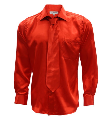 Burnt Red Satin Regular Fit Dress Shirt, Tie & Hanky Set
