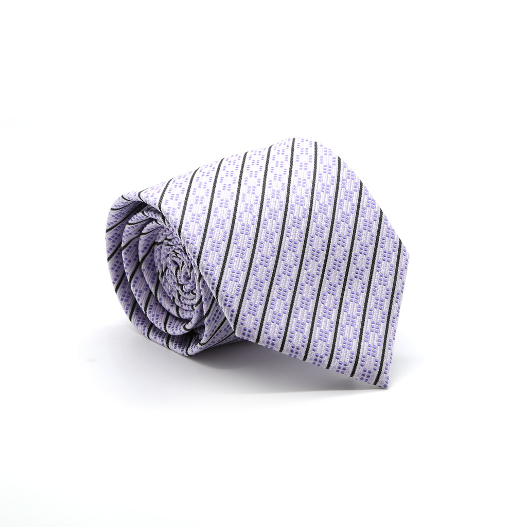 Ferrecci Mens Purple Striped Necktie with Handkerchief Set - FHYINC best men