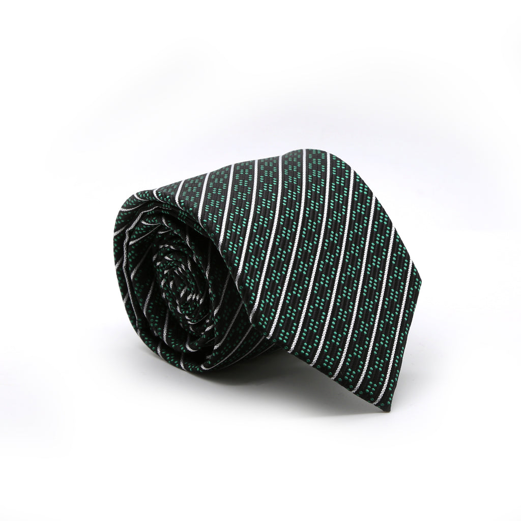 Ferrecci Mens Black/Green Striped Necktie with Handkerchief Set - FHYINC best men