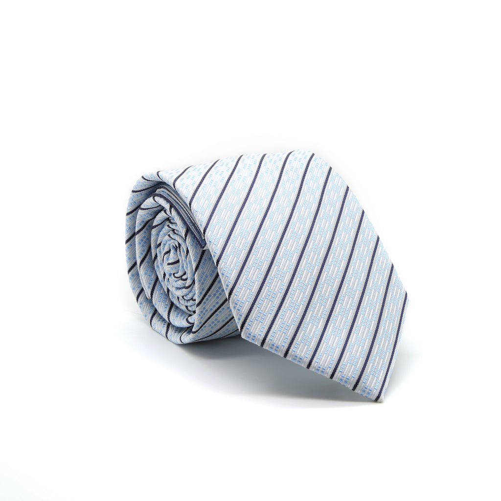 Ferrecci Mens White/Blue Striped Necktie with Handkerchief Set - FHYINC best men