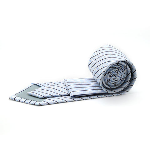 Ferrecci Mens White/Blue Striped Necktie with Handkerchief Set