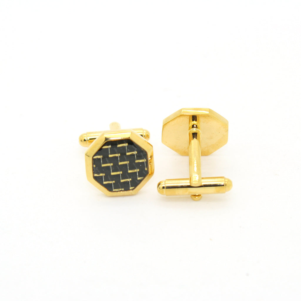 Goldtone Criss Cross Polygon Cuff Links With Jewelry Box - FHYINC best men