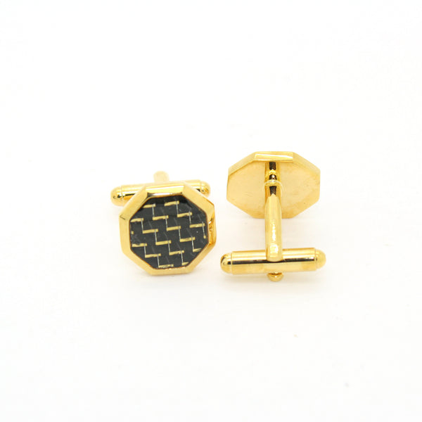 Goldtone Criss Cross Polygon Cuff Links With Jewelry Box - FHYINC best men's suits, tuxedos, formal men's wear wholesale