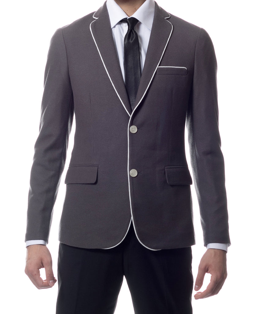 Capri Grey Ultra Slim Fit Knit Mens Blazer - FHYINC best men