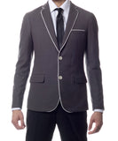 Capri Grey Ultra Slim Fit Knit Mens Blazer - FHYINC best men's suits, tuxedos, formal men's wear wholesale