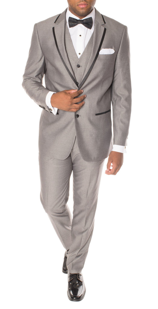 Celio Grey Black Slim Fit 3pc Tuxedo - FHYINC best men