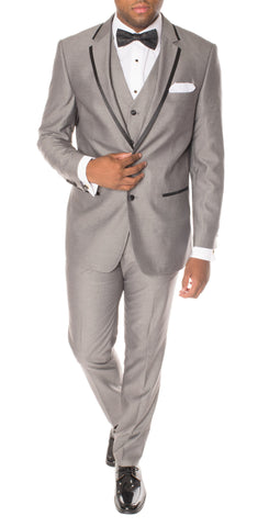 Celio Grey Black Slim Fit 3pc Tuxedo