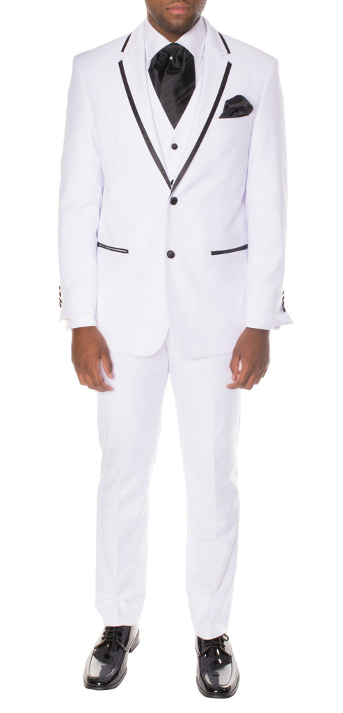 Celio White Black 3pc Slim Fit Tuxedo - FHYINC best men's suits, tuxedos, formal men's wear wholesale
