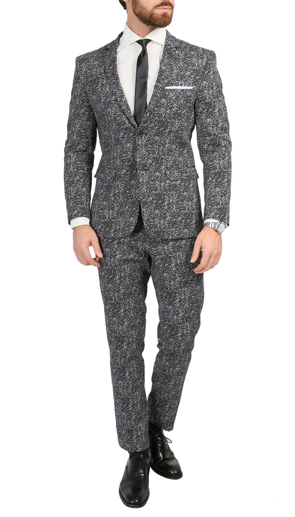 Chicago Slim Fit Black & White Spotted Notch Lapel Suit - FHYINC best men