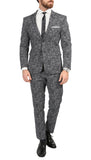 Chicago Slim Fit Black & White Spotted Notch Lapel Suit - FHYINC best men's suits, tuxedos, formal men's wear wholesale