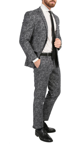 Chicago Slim Fit Black & White Spotted Notch Lapel Suit