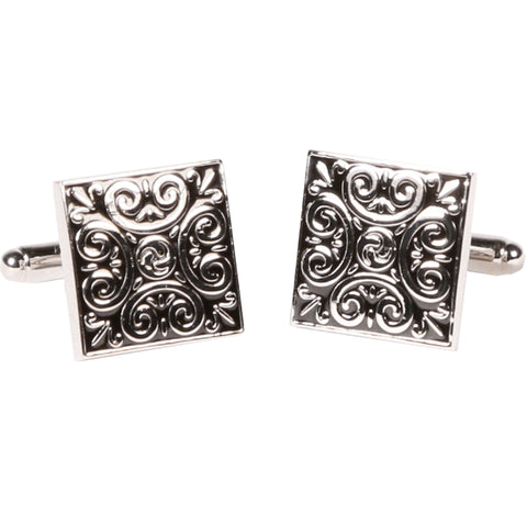 Silvertone Square Black Geometric Cufflinks with Jewelry Box