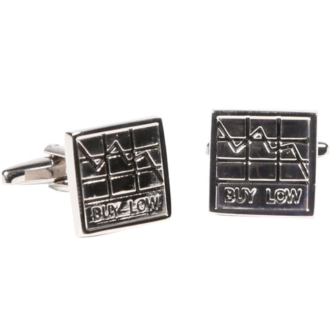 Silvertone Square Stock Market Graph Cufflinks Cufflinks with Jewelry Box