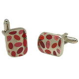 Men's Silvertone Square Pink/Red Oval Pattern Cufflinks