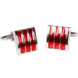 Silvertone Square Red Gemstone Cufflinks with Jewelry Box