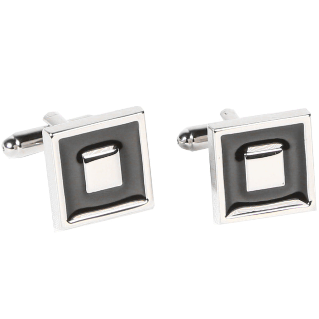 Silvertone Square Black Cufflinks with Jewelry Box