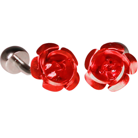 Silvertone Novelty Rose Cufflinks with Jewelry Box
