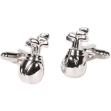Silvertone Novelty Golf Clubs Cufflinks with Jewelry Box