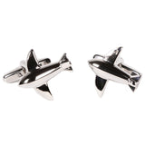 Silvertone Novelty Airplane Cufflinks with Jewelry Box