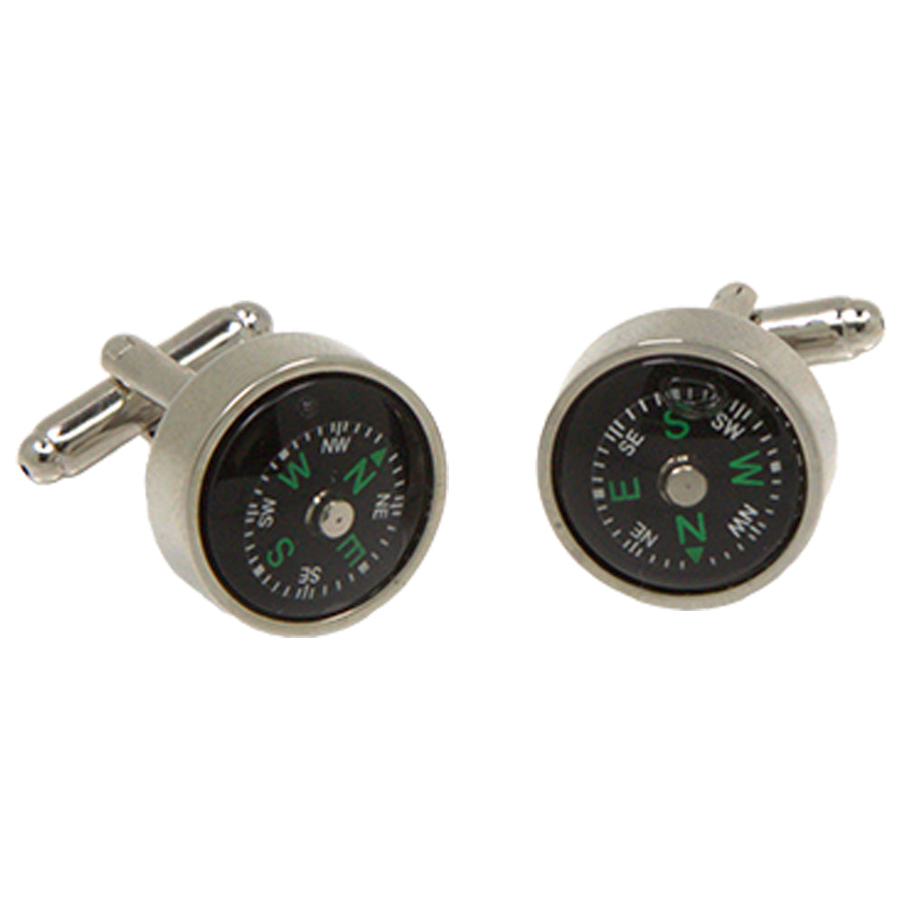 Silvertone Novelty Compass Cufflinks with Jewelry Box