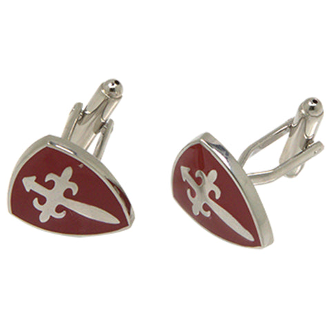 Silvertone Novelty Red Shield Cufflinks with Jewelry Box