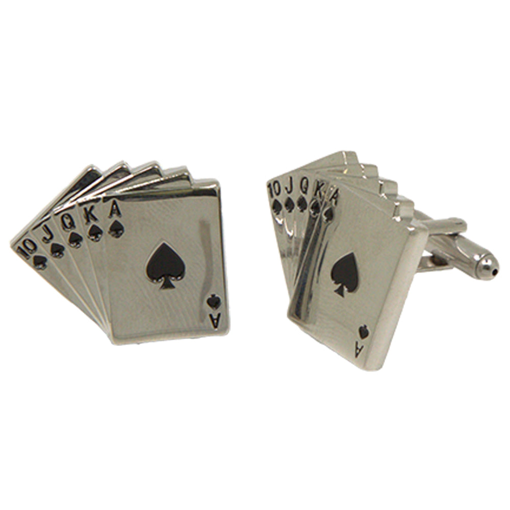 Silvertone Novelty Royal Flush Poker Cards Cufflinks with Jewelry Box