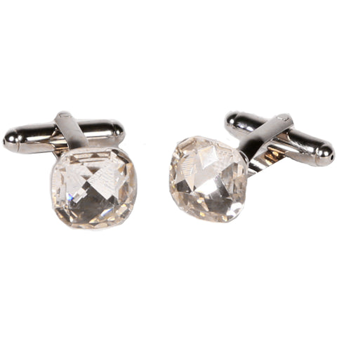 Silvertone Novelty Diamond Cufflinks with Jewelry Box