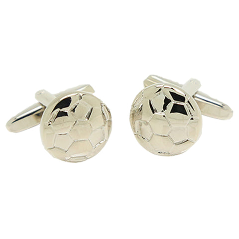 Silvertone Novelty Soccer Ball Cufflinks with Jewelry Box