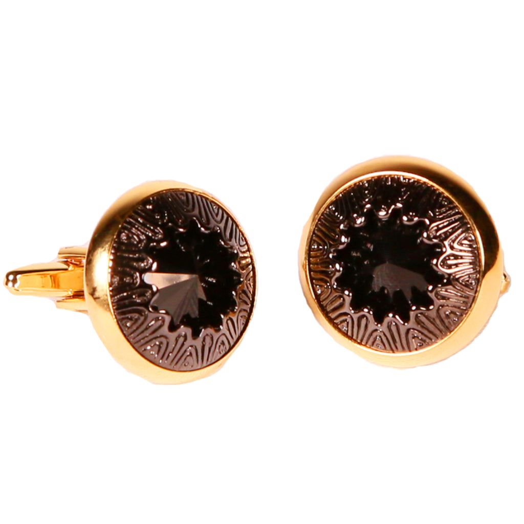 Goldtone Black Gemstone Cufflinks with Jewelry Box - FHYINC best men