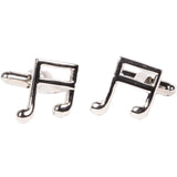 Silvertone Novelty Musical Note Cufflinks with Jewelry Box