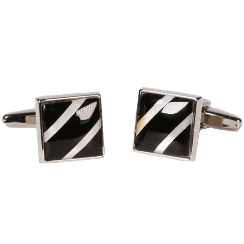 Silvertone Square Black Stripe Cufflinks with Jewelry Box