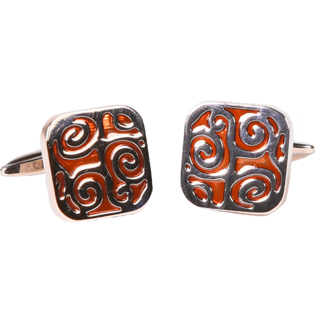 Silvertone Square Orange Geometric Pattern Cufflinks with Jewelry Box