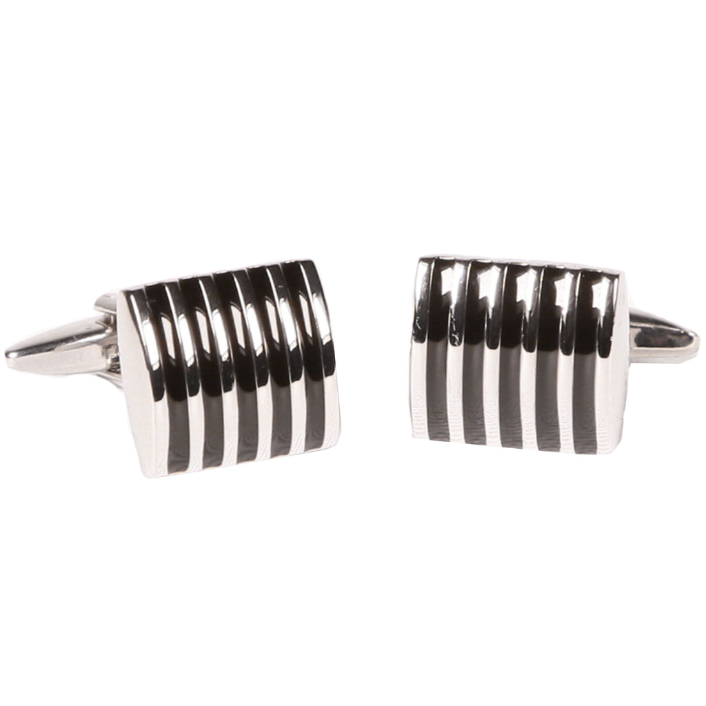 Silvertone Rectangular Stripe Cufflinks with Jewelry Box